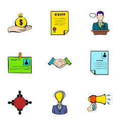 resume icons set cartoon style vector image