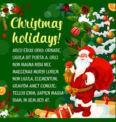 santa greeting card of christmas new year holiday vector image