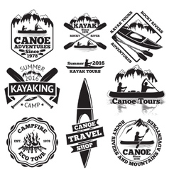 Set of canoe and kayak labels Two man in a boat vector image