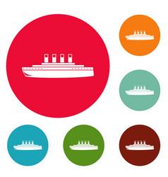 Ship retro icons circle set vector