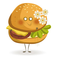 tasty cheeseburger with adorable face holds small vector image vector image