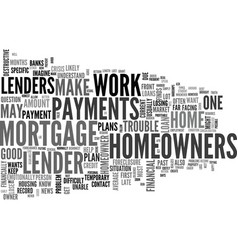 what to do when mortgage trouble hits text word vector image vector image