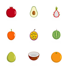 berry icons set flat style vector image