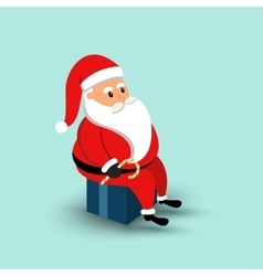 Cartoon Santa Claus sitting on a gift box vector image