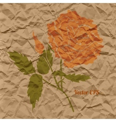 red rose creased paper vector image vector image