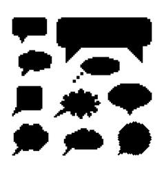 set of black speech bubbles in pixel art vector image