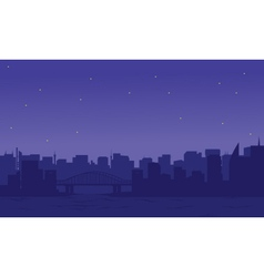 Silhouette of two cities vector image vector image