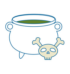 witch boiler with skull vector image vector image