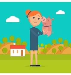 Woman holds pig in hand country farm on background vector
