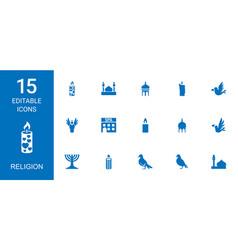 15 religion icons vector