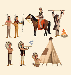 American indians icons set vector