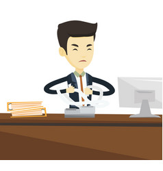 angry business man tearing bills or invoices vector image