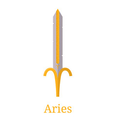 Aries sword zodiac sign cartoon zodiacal weapon vector