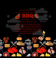 Bbq party poster design with barbeque and meat vector