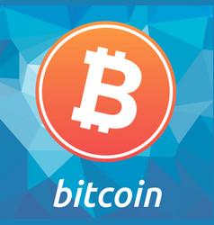 Bitcoin blockchain criptocurrency orange logo vector