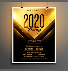 black and gold happy new year party flyer vector image