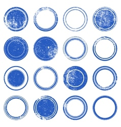 Blue Ronded Grunge Stamp vector image