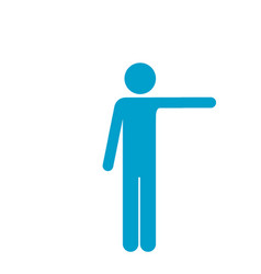 Blue silhouette of pictogram man pointing with vector