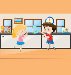 Boy and girl standing in class vector
