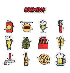 Brewing cartoon icons set vector