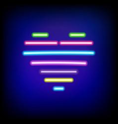 bright heart retro neon heart background ready vector image