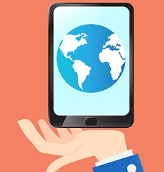 Business hold earth and technology in tablet vector