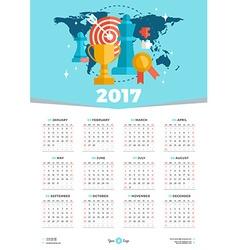 Calendar Design Template for 2017 Year Week starts vector image