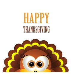 Card for Thanksgiving Day with turkey on white vector