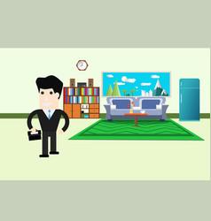 Cartoon businessman walk living room interior vector