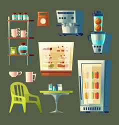cartoon cafe set sweet-shop cafeteria vector image