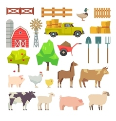 Cartoon farm elements animals building tools vector