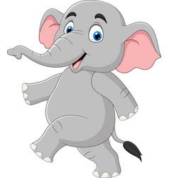 cartoon funny elephant isolated on white backgroun vector image