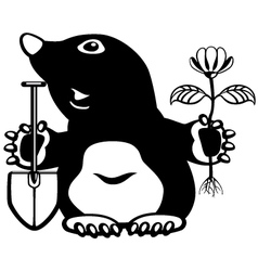 Cartoon mole black white vector