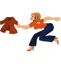 Cartoon woman in blue pants running after jacket vector