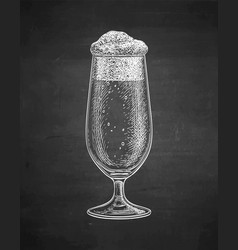 chalk sketch of beer glass vector image