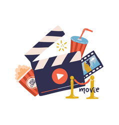 cinema movie print concept template with clapper vector image