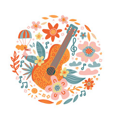 Circle composition flowers entwined guitar vector