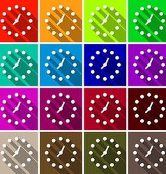 Clock Set Colorful Retro Clock Face Background vector
