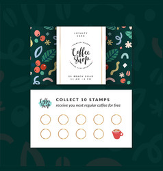 Coffee shop loyalty card discount coupon for vector