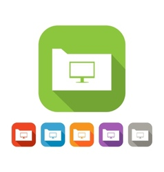 Color set of flat folder with computer vector