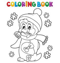 coloring book happy valentine penguin 1 vector image