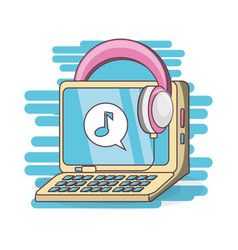 computer and headphones to listen music vector image