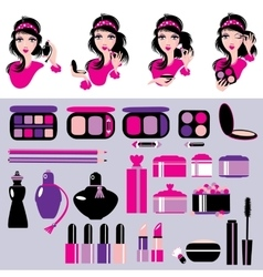 Cosmetics and makeup set Elements for make up vector