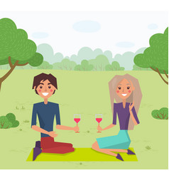 couple sitting on grass and drinking wine vector image