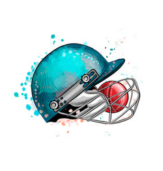 Cricket helmet with ball from a splash of vector