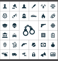 Crime justice icons universal set for web and ui vector
