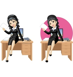 Cute young Asian office woman sitting on table vector