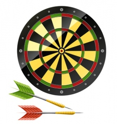 Darts with dart board game vector