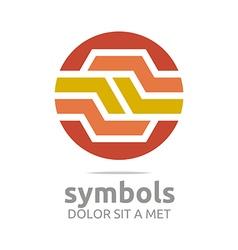 Design Letter Hexagon Zigzag Orange Symbol vector image