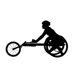 Disabled athlete racer on wheelchair vector